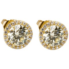 Diamond Halo Studs in 18 Karat Yellow Gold '2.27 Carat'