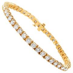 Diamond Tennis Bracelet in 14 Karat Yellow Gold '6.70 Carat'
