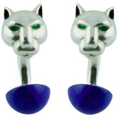 Panthere Panther Emerald Lapis Lazuli Enamel Silver Cufflinks