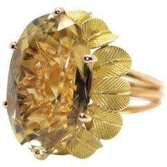 1970s Citrine 18 Karat Yellow Gold Vintage French Ring