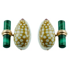 Rose Gold Shell Cufflinks with Malachite and Ruby