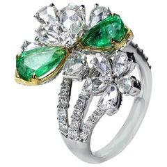 Studio Rêves 18 Karat Gold, Rose Cut Diamonds and Emerald Floral Ring