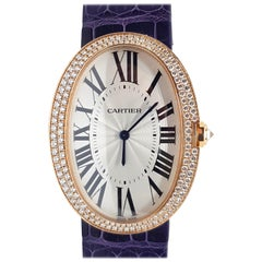 Cartier Pink Gold Diamond Baignoire Large Model Manual Wristwatch
