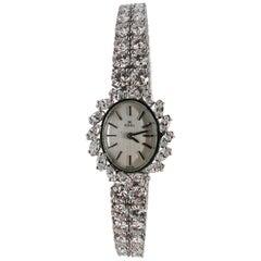 Ebel Signed 18 Karat White Gold 12.04 Carat Diamond Tennis Bracelet Wrist Watch
