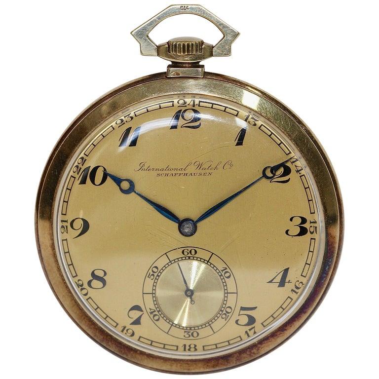 IWC International Watch Company Yellow Gold Art Deco Pocket Watch