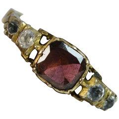 Early Georgian 15 Carat Gold Flat Cut Garnet Stack Band Ring