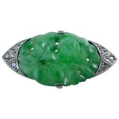 Antique Brooch Carved Jadeite and Old Cut Diamonds, Midcentury Art Deco Style