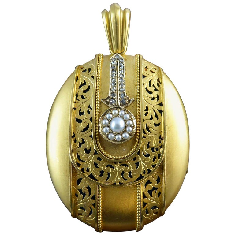 Antique Victorian Diamond Pearl Picture Locket, circa 1880s, Yellow Bloomed Gold
