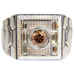 "1.16 Carat Natural Fancy Color Diamond ""Watch Band"" Men's Ring 18 Karat Flexible"