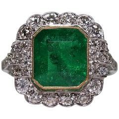 Modern Art Deco Style Platinum 2.94 Carat Emerald and Diamond Ring