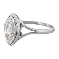 Midcentury 0.94 Carat Marquise Cut Diamond Engagement Ring