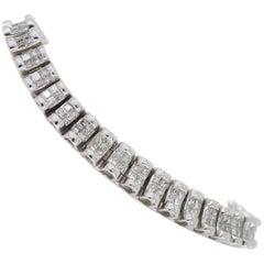 6 Carat Two-Row Princess Cut Diamond Bracelet