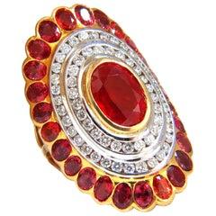 12.30 Carat Natural Spinel Diamonds Long Cluster Ballerina Ring 18 Karat