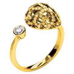 Fei Liu 18 Karat Yellow Gold Filigree Egg Small Double Ring