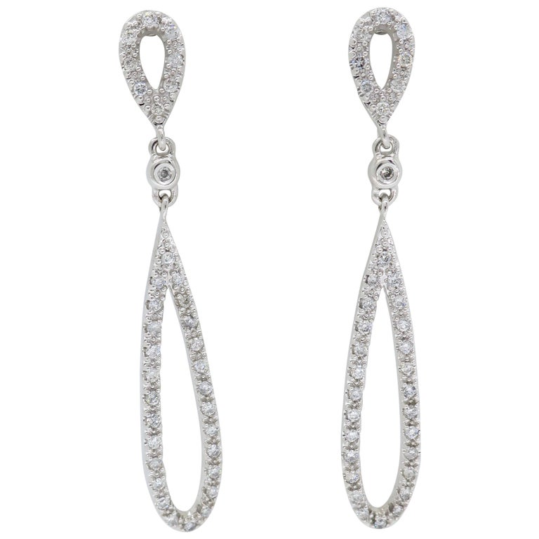 1.00 Carat Diamond Oval Chandelier Dangle Earrings