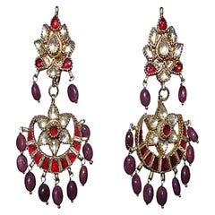 Indian Ruby and Sapphire Chandelier Earrings
