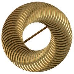 Tiffany & Co. 14 Carat Gold Circular Disk Spiral Panel Brooch
