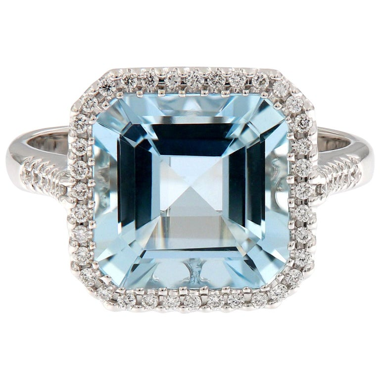 Aquamarine Diamond White Gold Cocktail Ring For Sale
