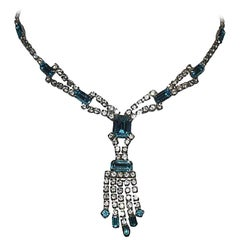 Blue and White Silver Tone Rhinestone Necklace