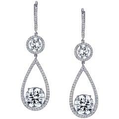 GIA Certified 9.19 Total Carat Weight Diamond Earrings