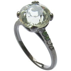 Fei Liu 18 Karat Small Round Green Amethyst with Diamonds Cocktail Ring