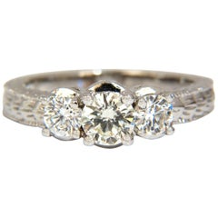 1.09 Carat Natural Round Brilliant Diamond Ring Classic Three Engagement