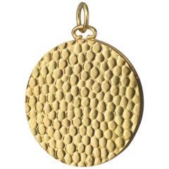 Monica Rich Kosann 18 Karat Yellow Gold Hammered Half Locket Charm