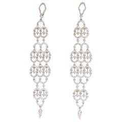 2.30 Carat Natural Diamonds Modern Dangle Long Earrings 14 Karat