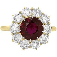 GIA Certified Ruby Round 3.90 Carat Diamond Halo Ring Gold Platinum Ring