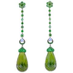 Platinum Demantoid /Tsavorite Long Earrings with Green Amber and Moonstones