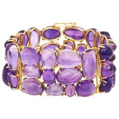 Cobblestone Set Amethyst Gold Bracelet