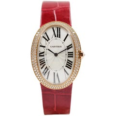 Cartier Baignoire Watch, Large Model, Rose Gold with Diamonds