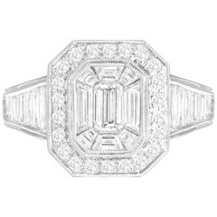 2.31 Carat Total Weight Diamond Cluster Ring in 18 Karat White Gold