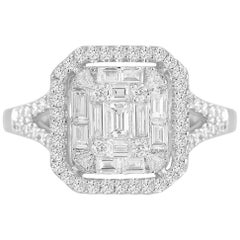 0.86 Carat Diamond Cluster Ring in 18 Karat White Gold