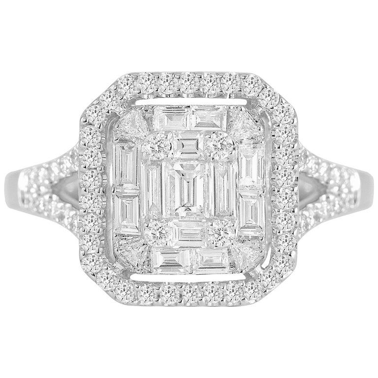 0.86 Carat Diamond Cluster Ring in 18 Karat White Gold For Sale