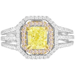 GIA Certified 1.00 Carat Natural Fancy Diamond Cluster Ring in 18 Karat Gold