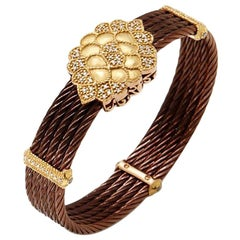 Charriol Gold Brown Petra and Diamond Cluster Celtic Cable Bangle Bracelet