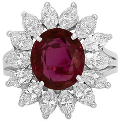 GIA Certified Ruby Oval 4.01 Carat Diamond Halo Platinum Ring
