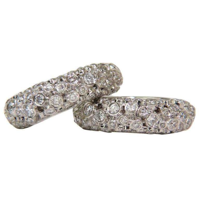 18 Karat 1.65 Carat 3D Bezel Diamond Hoop Earrings Modern A++VS