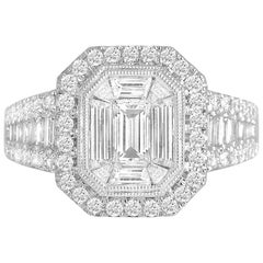 1.91 Carat Cluster Halo Ring in 18K White Gold by Diamond Town
