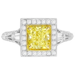 GIA Certified 1.22 Carat Radiant Cut Natural Fancy Yellow Diamond Cluster Ring