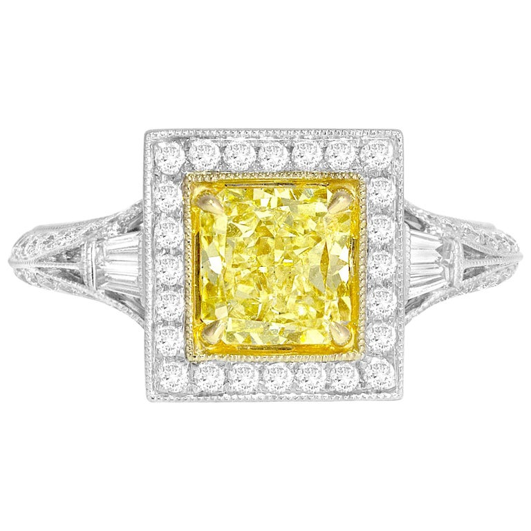 GIA Certified 1.22 Carat Radiant Cut Natural Fancy Yellow Diamond Cluster Ring For Sale