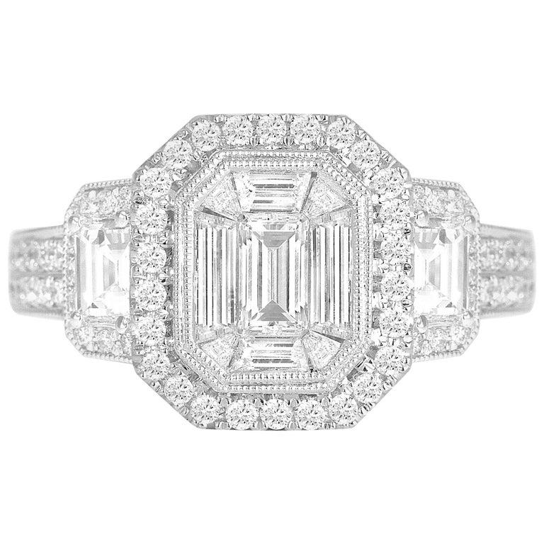 1.66 Carat Diamond Cluster Ring in 18 Karat White Gold For Sale