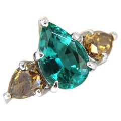 2.30 Carat Natural Emerald Fancy Color Diamonds Three-Stone Ring 14 Karat Vs a+