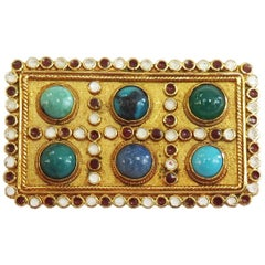 Genuine Blue and Green Stone Enamel 18 Karat Yellow Gold Pin