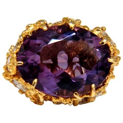 19.30 Carat Natural Amethyst Diamonds Nugget Cluster Ring 14 Karat