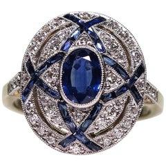 18 Karat and Platinum Estate Natural Sapphire and Diamond Ring