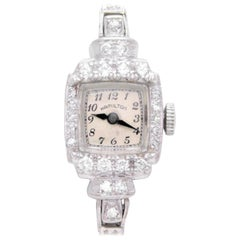 Hamilton Ladies Platinum Diamond Art Deco manual Wristwatch, circa 1930
