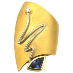 """18k White and Yellow Gold Fashion Brooch by """"Susan"""" with Tanzanite and Diamond"""