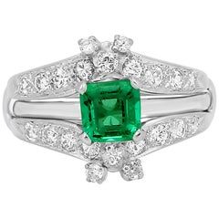 Colombian Emerald Diamond Platinum Wedding Ring Set
